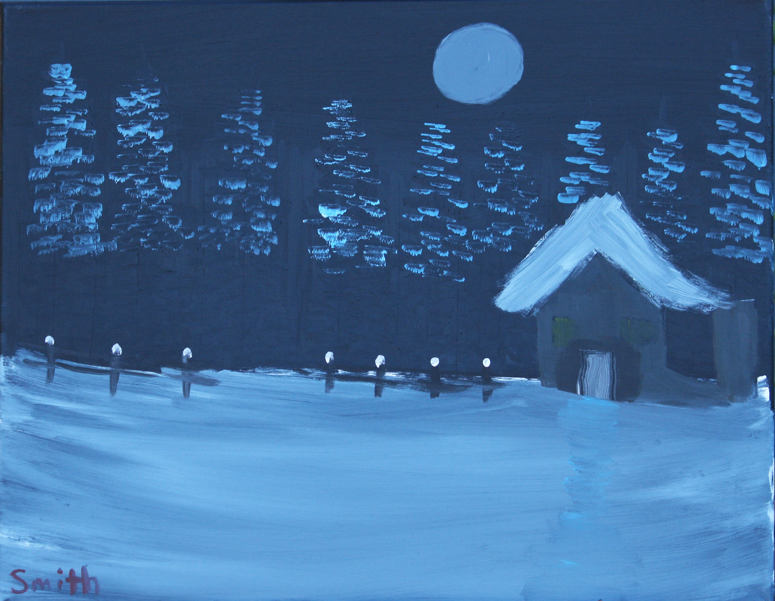 Nighttime-Winter-Cabin